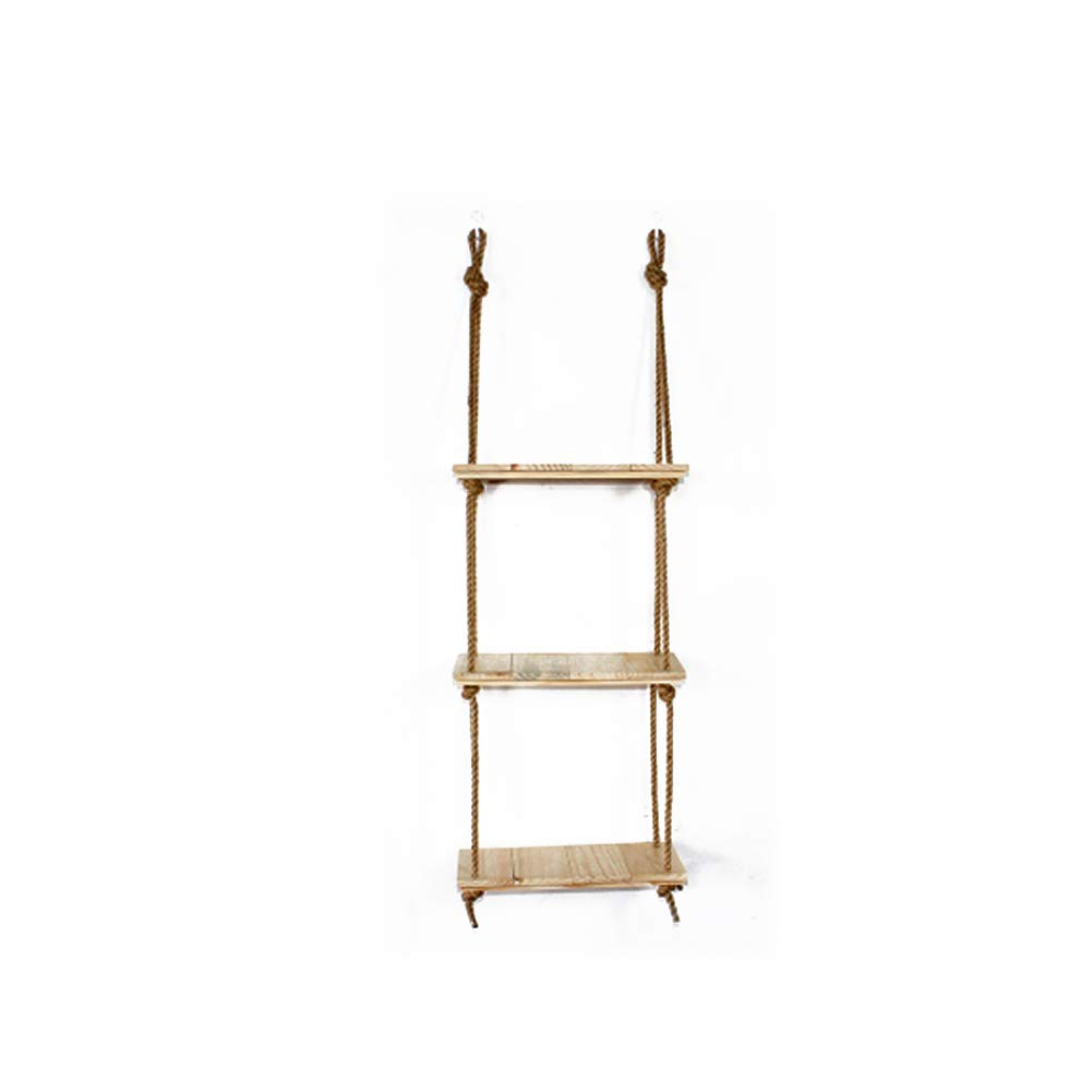 Fitlyiee Large Capacity Hanging Shelf Wood Floating Shelves Storage Shelves Modern Country Decor for Plant Display (Beige)