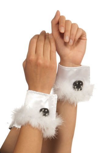 Rubie's Costume Bunny Cuffs With Marabou Trim, White, One Size -