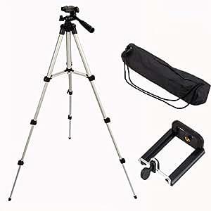 Adjustable Aluminum Camera Tripod, Portable Camera Tripod Mount Stand Holder for iPhone Samsung Mobile Phone Canon Nikon Sony DV