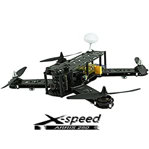 ARRIS X-Speed FPV 250 Racer Mini Drone Pure Carbon Fiber RC Quadcopter RTF with DEVO7 Transmitter for FPV (ARRIS 2204 + ARRIS 6045 + LED) (Assembled)