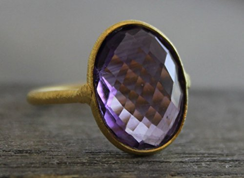 Oval Amethyst Gold Plated Sterling Silver Statement Ring, size 8