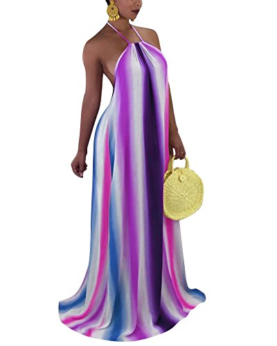Women's Sexy Tie Dye Halter Neck Backless Loose Long Maxi Dress XX-Large Purple