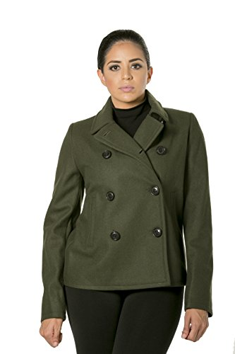 Satin Wool Coat - Cute Double Breasted Wool Satin Lined Peacoat (Small, Sargent Green)