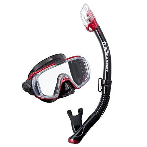-Ex Black Series Mask & Snorkel Combo, Black/Metallic Dark Red (Tusa Snorkeling)