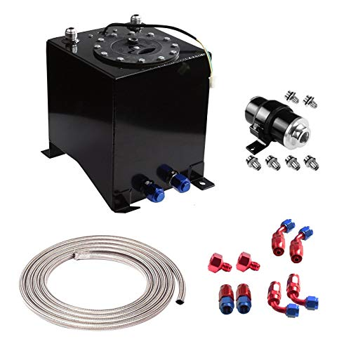 yjracing 2.5 Gallon 9.5L Black Aluminum Fuel Cell Tank with 12Ft an-6 Stainless Steel Braided Oil Fuel Hose+Feed Line Fittings+30 Micron Gas Filter
