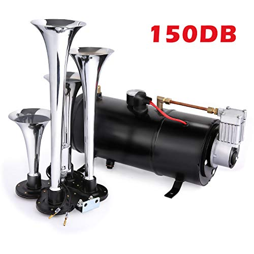 Rendio 150 DB 4 Trumpet Train Air Horn Kit With 110PSI 12V Air Compressor Air Horn Car Truck Train