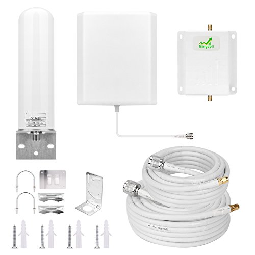 Mingcoll Cell Phone Signal Booster 1700MHz Band 4 3G 4G Cell Phone Booster Cell Signal Repeater for T-Mobile Metro PCS AWS AT&T Mobile Signal Booster Cell Phone Signal Amplifier for Home (W17-BCS)