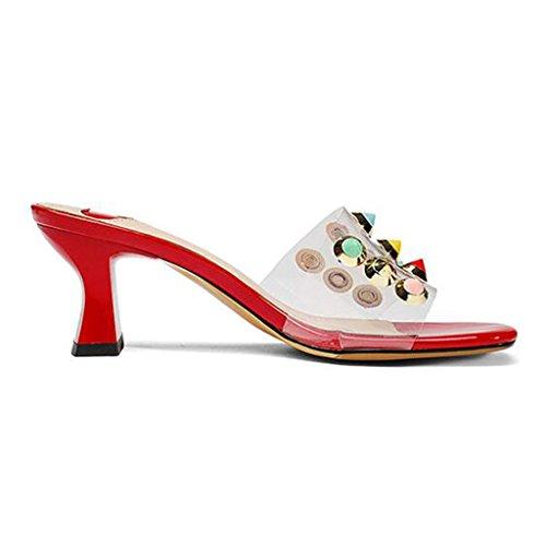Rugueux Transparente Femme Pantoufles Bout Rouge Été Chaussures Tige Talons Sandales Rivet Ouvert À XHTw55