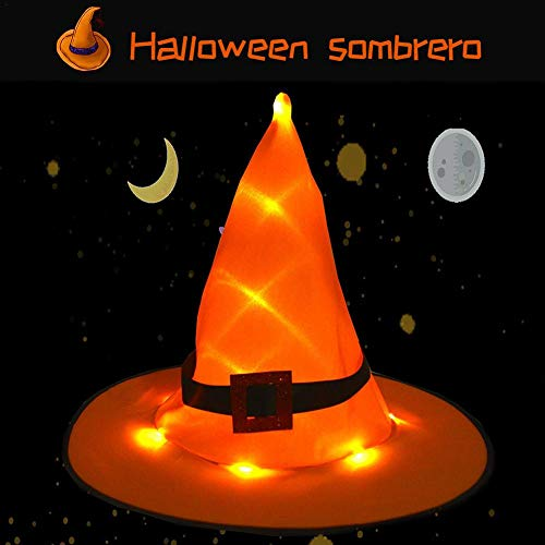 Settlede Witch Hat, Halloween Party Luminous Witch Hat Bat Party Hat, Halloween Costume Accessory for Holiday Halloween Party, Orange