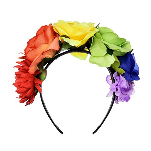 June Bloomy Day of The Dead Headpiece Frida Costume Mexican Floral Crown Rose Headband (Rainbow)