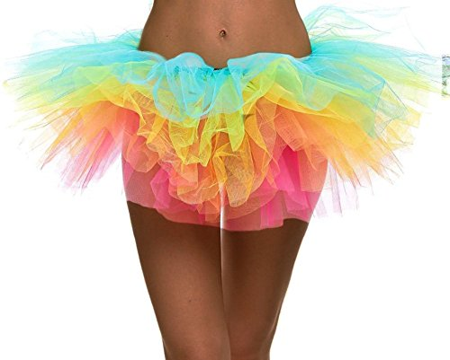 Women's Rainbow Classic 5-Layered Tulle Tutu Halloween Skirt Dance Petticoat -