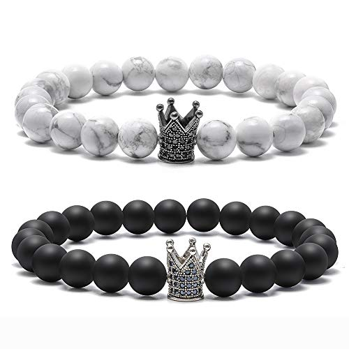 Natural Stone Bead Bracelets - 8mm Natural White Turquoise Black Matte Agate Bead Bracelets, Men Women Stress Relief Yoga Beads CZ Crown King Elastic Semi-Precious Stone Bracelet Bangles ( 2 Pack)
