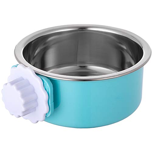ORDERMORE Crate Dog Bowl,Stainless Steel Removable Hanging Food Water Bowl Cage Coop Cup for Dogs,Cats,Birds,Small Animals,Holds 14 Ounce (Pet Water Crate)