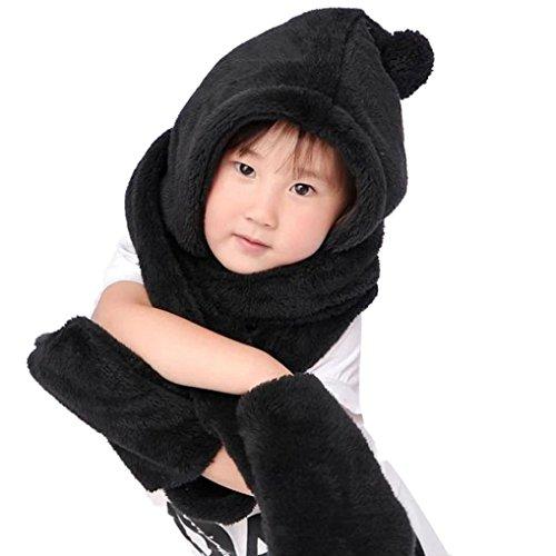 Lace Scarf Kit (TAORE Boys Girl Warm Woolen Coif Hood Scarf Caps Hats Gloves Set (Black))