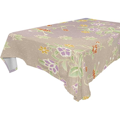 Japanese Wedding Flowers - ALAZA Japanese Style Vintage Floral Flower,Rectangular Tablecloth for Dinner,Kitchen,Party,Picnic,Wedding,Restaurant or Banquet Use,Fall,Holidays,Halloween,Christmas,Tablecovers Spread,60x108 inch