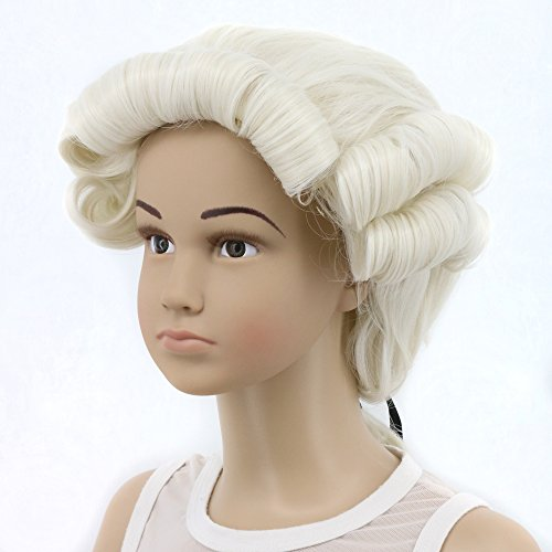 Yuehong Long Men's George Washington Cosplay Curly Gentleman Lawyer Wig Halloween Hair (Kid)