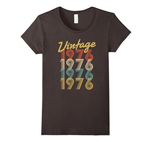 1976 T-shirt (Womens Vintage 1976 T-Shirt Retro Colors 42nd Birthday Gift Shirt XL Asphalt)