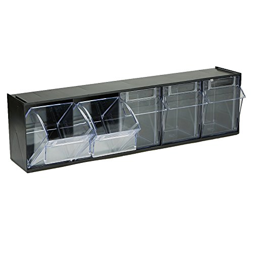Mind Reader BIN5-BLK Multi Purpose Storage Tilt Drawer, 5 Compartment Removable Bins, Tip Out Clear Bins, Black ()