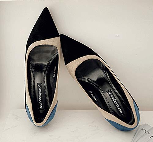 Talon 8cm Style Noir Haut Aisun Femme Multicolore Stable Escarpin PwxpqWRtgv
