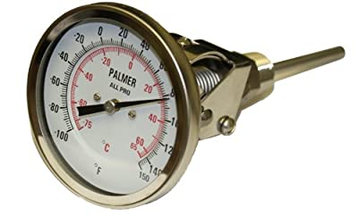 "Palmer 3AP650/500F&C All Pro Welded Stainless Steel 304 Dual Scale Bimetal Thermometer, 50/400 F and 10/200 C Range, 3"" Dial, 6"" Stem, 1/2"" NPT Connection, All-Angle Mount"