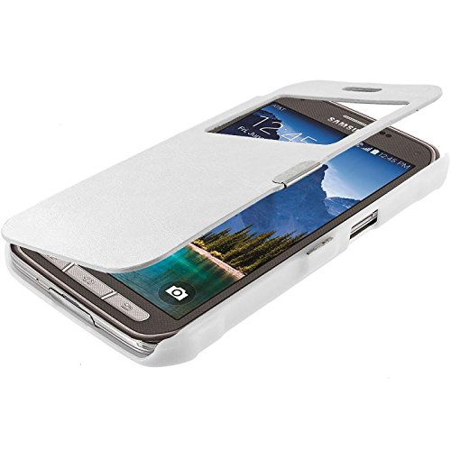 Warrior Wireless (TM) White (Open) Magnetic Wallet Case Cover Pouch for Samsung Galaxy S5 Active + Bundle = (ITEM + CELLPHONE STAND) - By TheTargetBuys