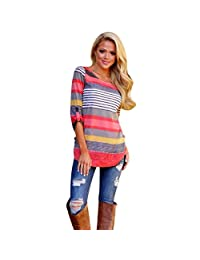 Changeshopping 1PC Womens Ladies Simple Three Quarter sleeve stripe Tops T-Shirt