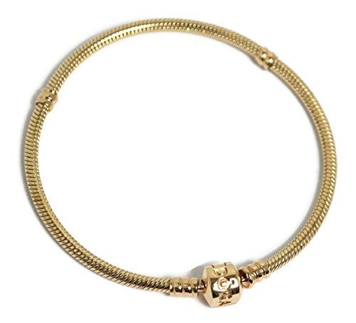 "PANDORA 550702 18 14K Gold Barrel Clasp Bracelet, 7.1"""