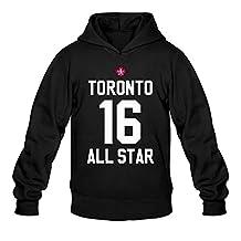 QDYJM Men's 2016 NBA All Star Game Toronto Jersey Logo Hoodie- Black