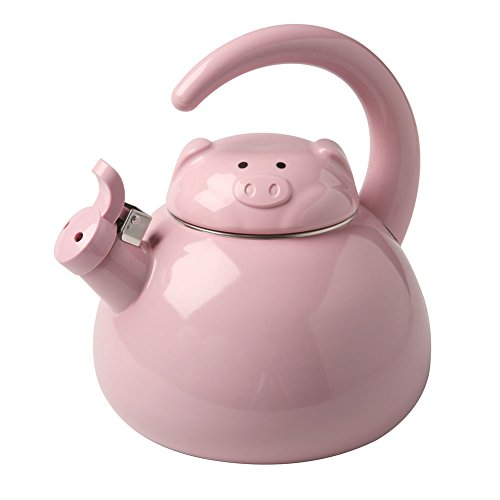 Cute Whistling Pig Metal Teapot - Enamel Finish - 2 Quart Kettle
