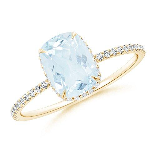 (Thin Shank Cushion Cut Aquamarine Ring With Diamond Accents in 14K Yellow Gold (8x6mm Aquamarine))