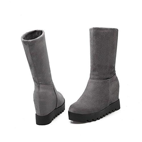 VogueZone009 Damen Ziehen auf Rund Zehe Rein Hoher Absatz PU Stiefel Grau