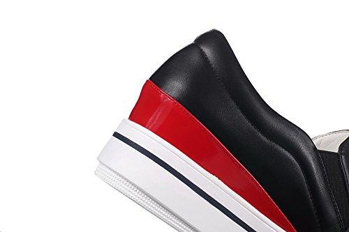 VogueZone009 Damen Hoher Absatz Weiches Material Ziehen auf Rund Zehe Pumps Schuhe Schwarz