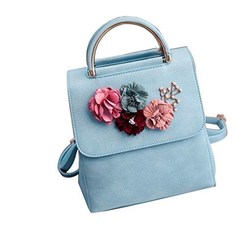 Women Girls Shoulder Bag, QISC Floral PU Leather Backpack Travel Handbag Boodbag (Blue) by Srogem Bag