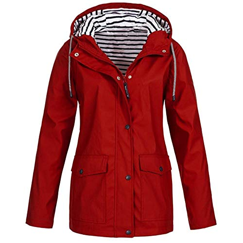 HGWXX7 Women Solid Rain Jacket Outdoor Plus Size Coats Waterproof Hooded Raincoat Windproof(3XL,Red)