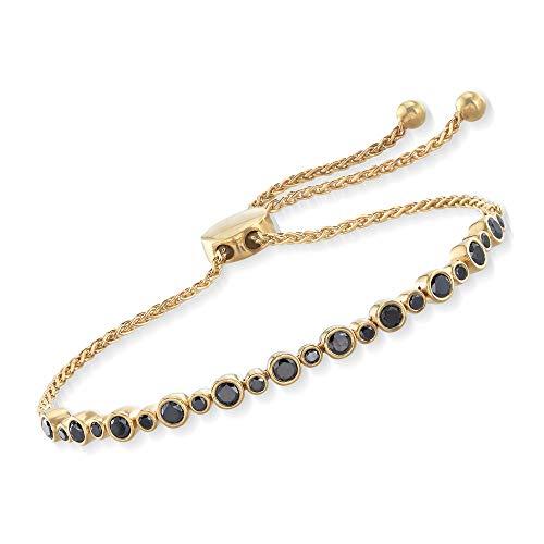 Ross-Simons 1.00 ct. t.w. Bezel-Set Black Diamond Bolo Bracelet in 18kt Yellow Gold Over ()