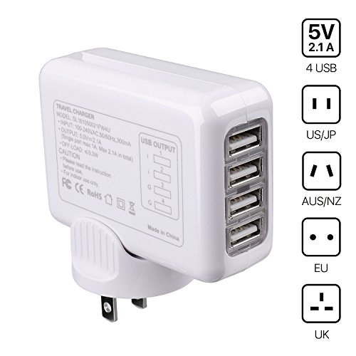 iversal Power Adapter Converter with 4 USB Charging Ports - All in One Travel Worldwide Plug AC Socket Wall Outlet for US, EU, UK, AU 150 Countries iPhone Apple iPad Laptop (White) ()