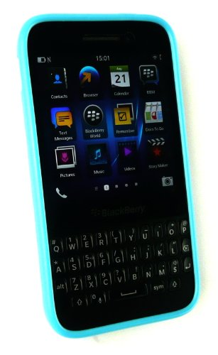 Emartbuy® Blackberry Q5 Polka Dots Gel Piel Cubierta / Caja Azul / Blanco