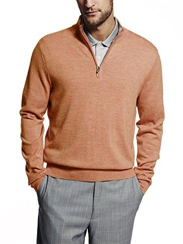 (Aristo Mens Angus 1/4 Zip Mock Sweater Orange M)