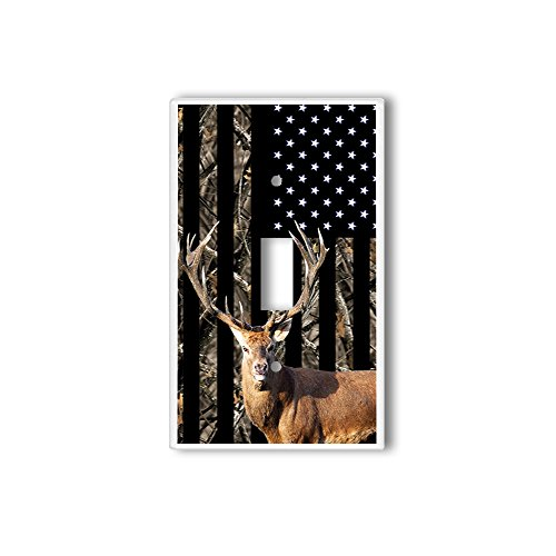 Light Switch Single Wall Plate Cover By InfoposUSA Camouflage Deer USA Flag