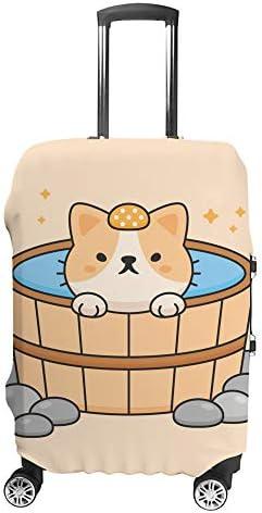 スーツケースカバー 温泉のかわいい猫 伸縮素材 キャリーバッグ お荷物カバ 保護 傷や汚れから守る ジッパー 水洗える 旅行 出張 S/M/L/XLサイズ
