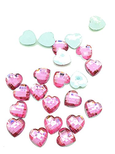 200 Acrylic Heart Shaped Flatback Gems, Multi Faceted Charms 10mm (Pink) -