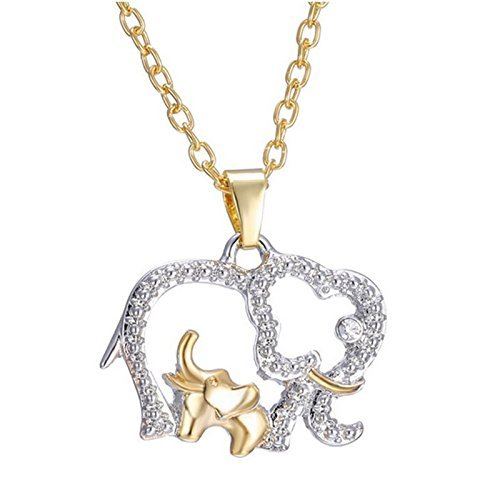 Price comparison product image New Chic Crystal Charm Mom & Baby Elephants Pendant Necklace Mother's Day Gift