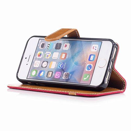 Yiizy Funda Tapa Apple IPhone 5 / IPhone 5s / IPhone SE, Patrón De Vaquero Diseño Carcasa Tapa Cuero Billetera Piel Flip Cover Solapa Estuches Silicona TPU Case Cáscara Bumper Protector Slim Stand Ran
