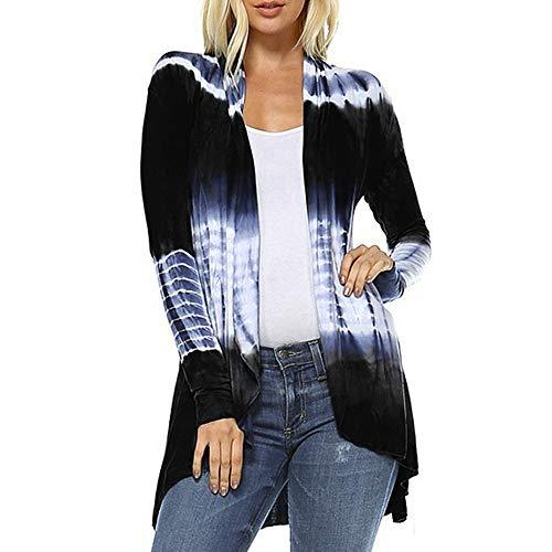 Hi-Low Open Cardigan Women Fashion Tie-Dye Long Sleeve Asymmetric Top Blouse Navy
