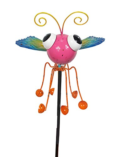 Continental Art Center Inc. CAC18123 2019 Hand Painted and ENAMELED Butterfly with Spinning Legs Kinetic Garden Stake Lawn and Yard Art Decor, Colorful