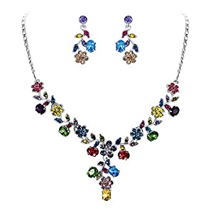 EVER FAITH Flower Leaf Necklace Earrings Set Austrian Crystal