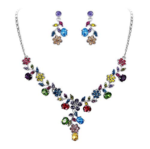 (EVER FAITH Flower Leaf Necklace Earrings Set Austrian Crystal Silver-Tone - Multicolor)
