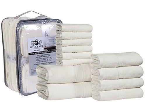 12 PIECE- 600 GSM Ivory Cotton Bath Towels Set - Hotel Spa T