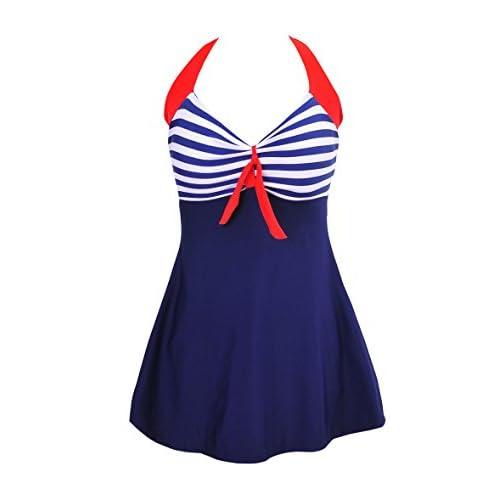 c8a8326039b Bechic Women s Sailor Halter Plus Size Swimdress Vintage Striped One-piece  Swimsuit Long Torso Cover Up Bathing Suit hot sale 2017