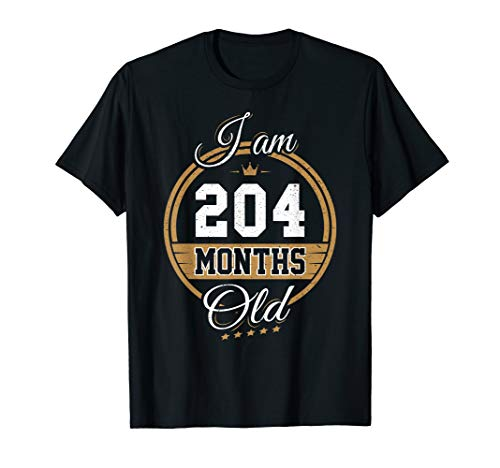 Funny Vintage 17th Birthday T-Shirt I'm 204 Months Old Gift